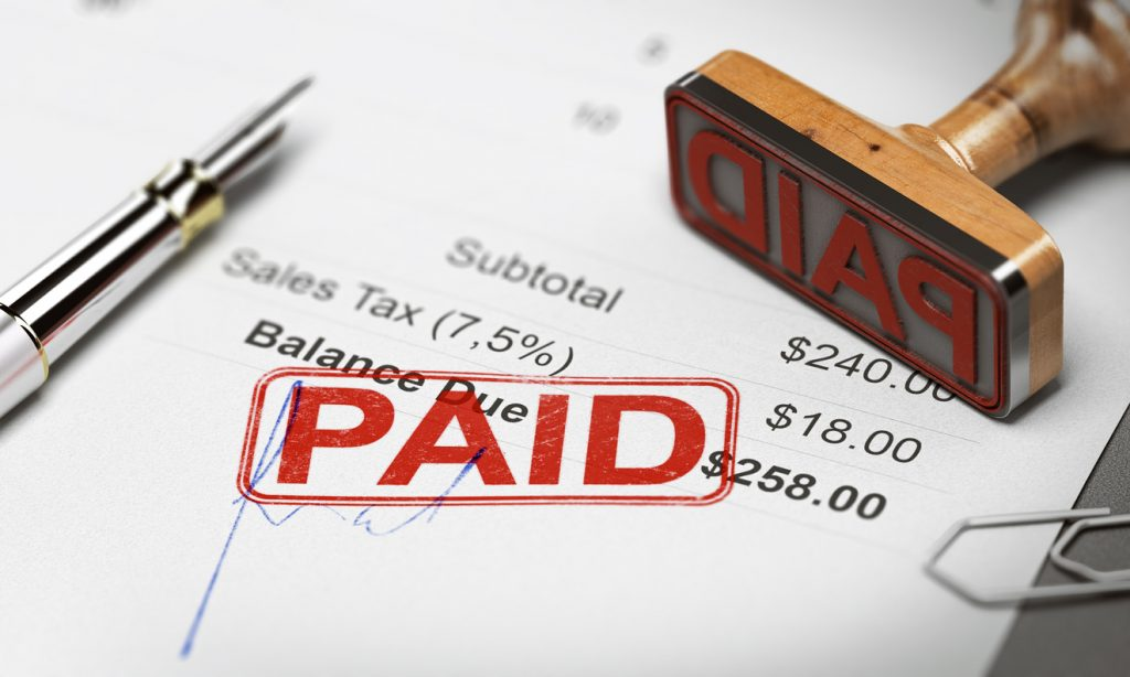 Paid Invoice for Debt